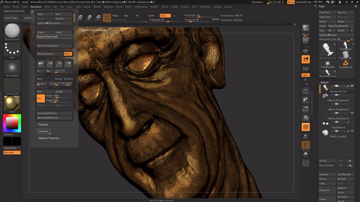 3d model zbrush george orwell